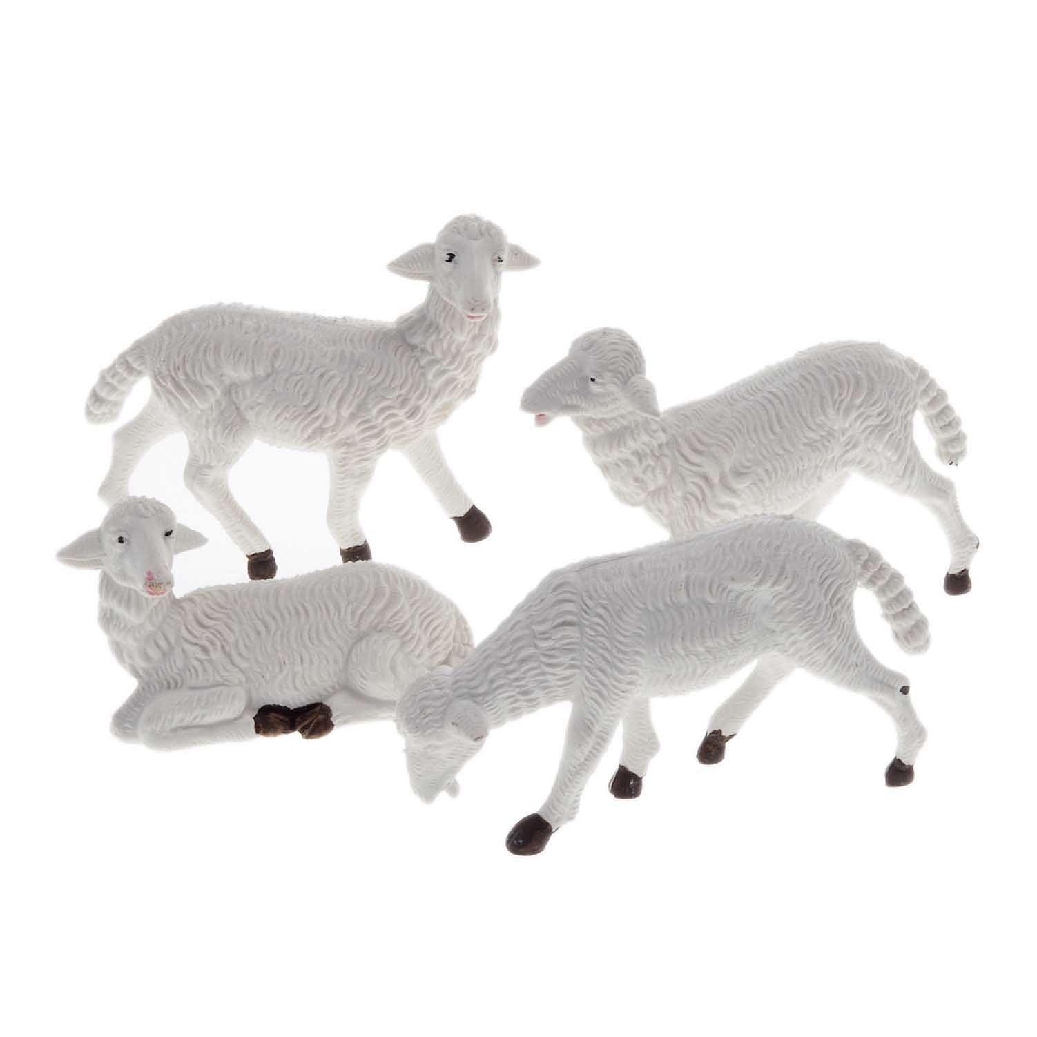 Pecore presepe plastica bianca 4 pz. 16 cm 3