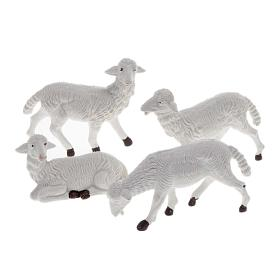 Pecore plastica bianca 4 pz. per presepe di altezza media 16 cm s1