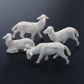 Pecore plastica bianca 4 pz. per presepe di altezza media 16 cm s2