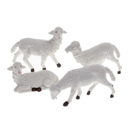 Pecore presepe plastica bianca 4 pz. 16 cm 1