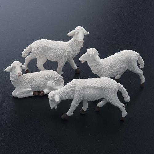 Pecore presepe plastica bianca 4 pz. 16 cm 2