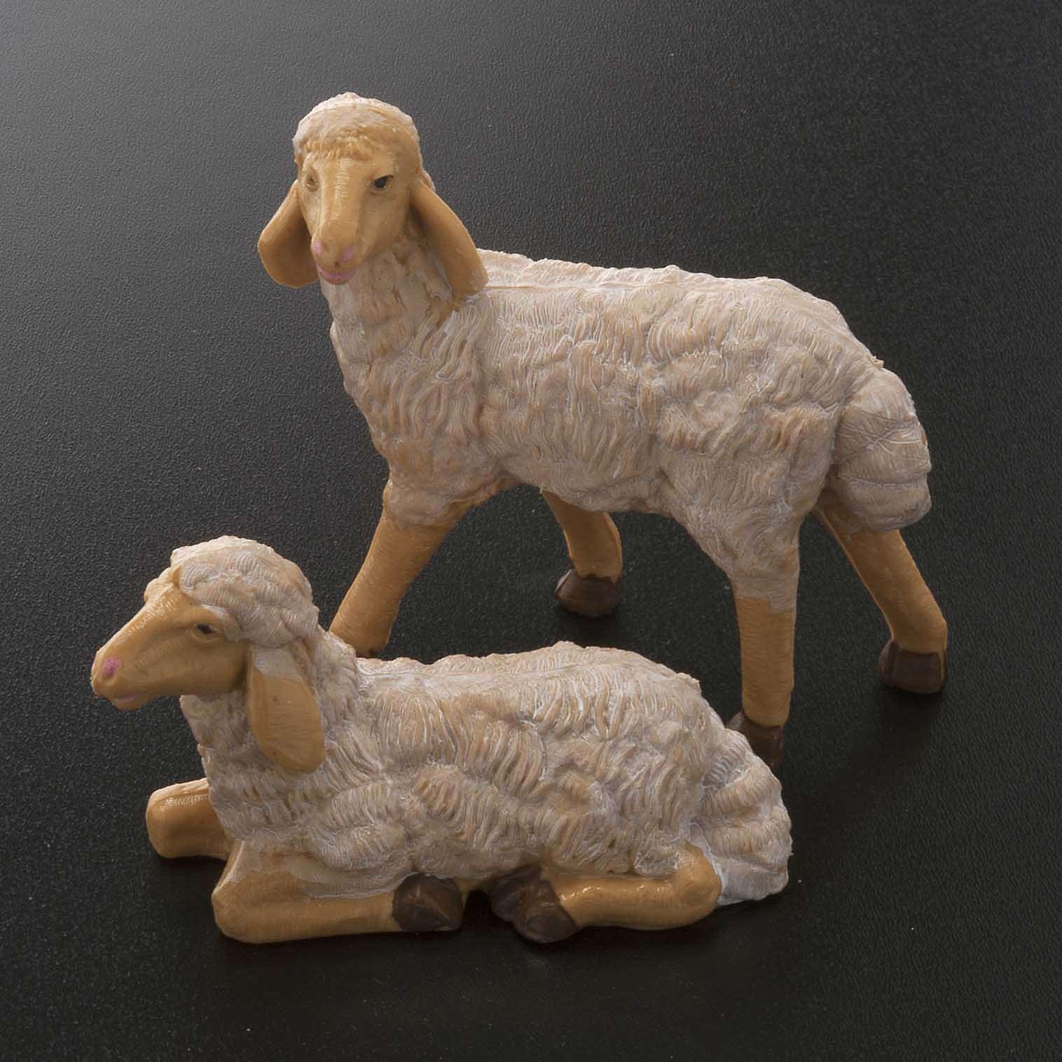 Pecore presepe plastica marrone 4 pz. 20 cm 3