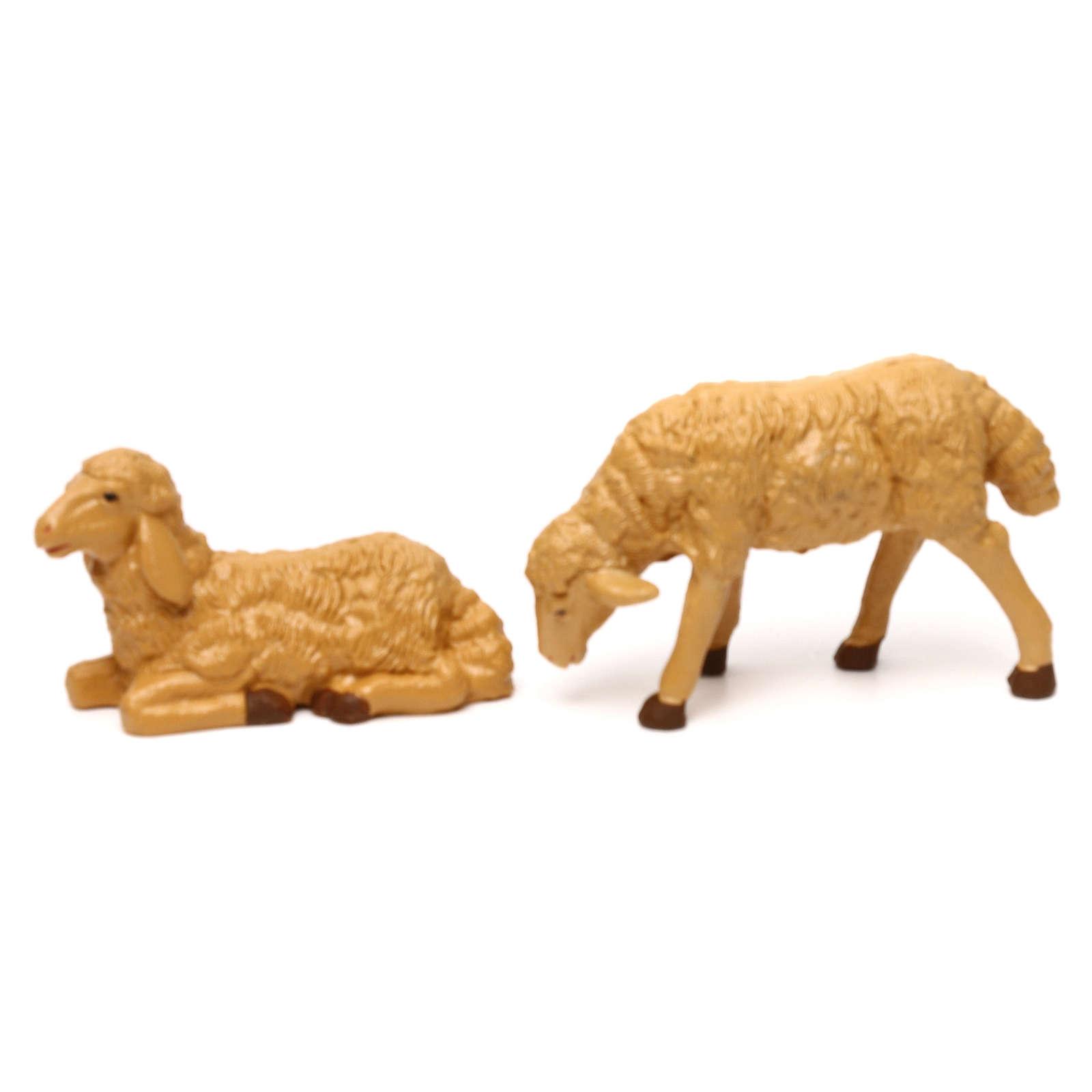 Pecore presepe plastica marrone 4 pz. per presepe di altezza media 20 cm 3