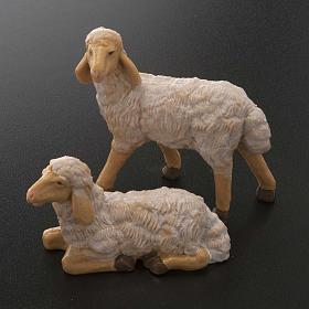 Pecore presepe plastica marrone 4 pz. per presepe di altezza media 20 cm s2