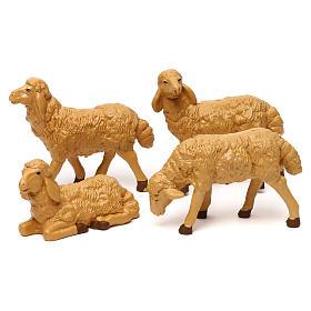Pecore presepe plastica marrone 4 pz. per presepe di altezza media 20 cm s1