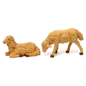Pecore presepe plastica marrone 4 pz. per presepe di altezza media 20 cm s3
