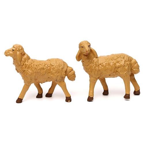 Pecore presepe plastica marrone 4 pz. per presepe di altezza media 20 cm 2
