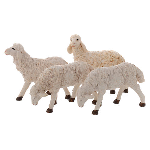 Pecore presepi plastica assortite 4 pz. per pastori di 20 cm 1