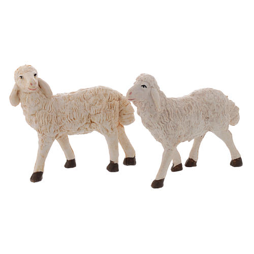 Pecore presepi plastica assortite 4 pz. per pastori di 20 cm 2