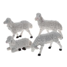 Nativity figurine, white plastic sheep measuring 20cm, 4 pieces s1