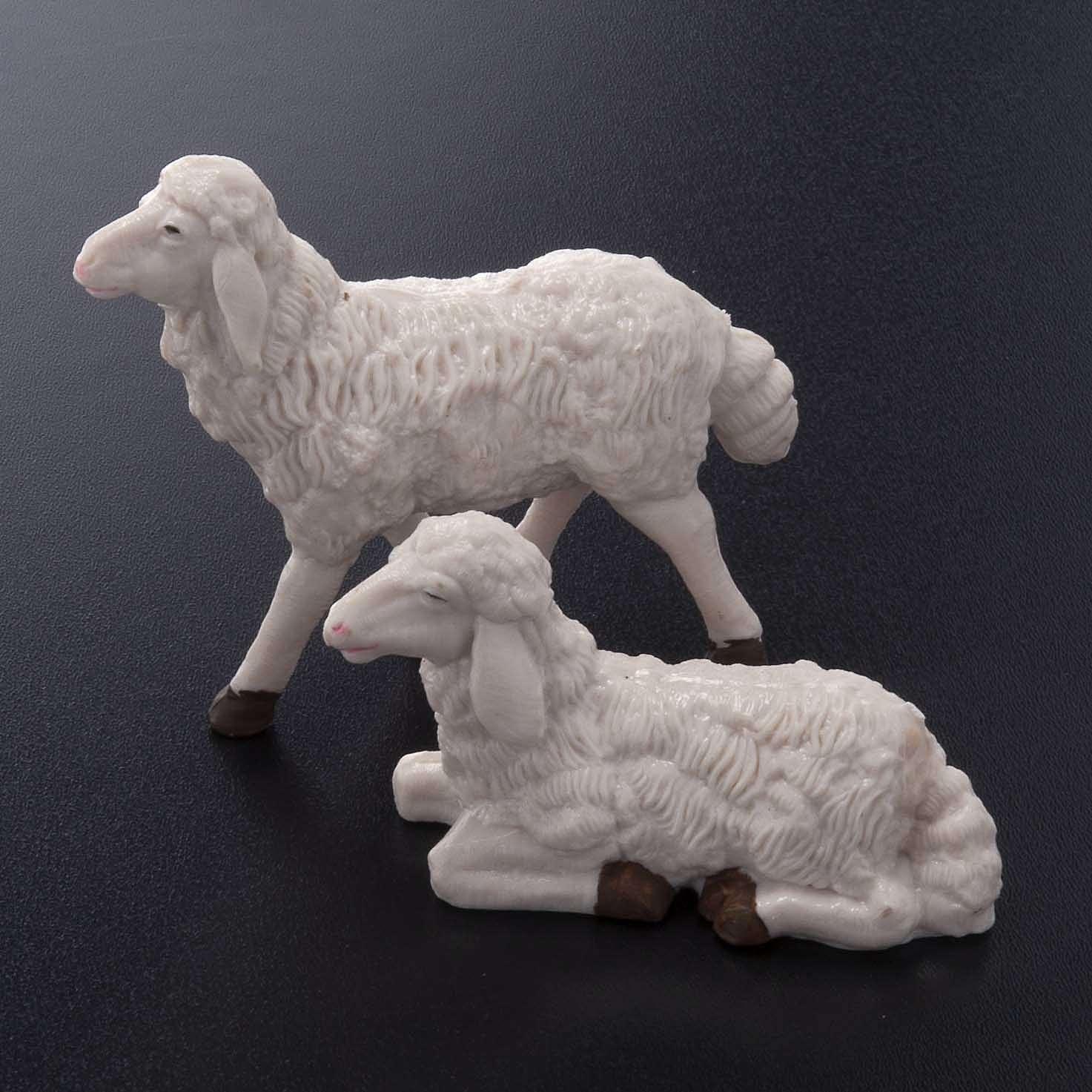 Pecore presepe plastica bianca 4 pz. 20 cm 3