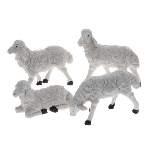 Pecore presepe plastica bianca 4 pz. 20 cm 1