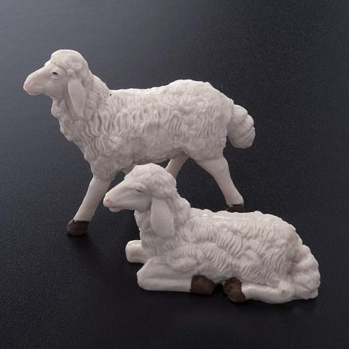 Pecore presepe plastica bianca 4 pz. 20 cm 2