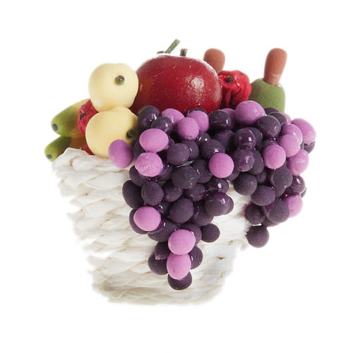 Nativity scene accessory, basket with diffent kinds of fruit 1