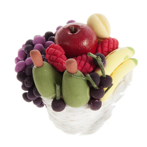 Nativity scene accessory, basket with diffent kinds of fruit 2