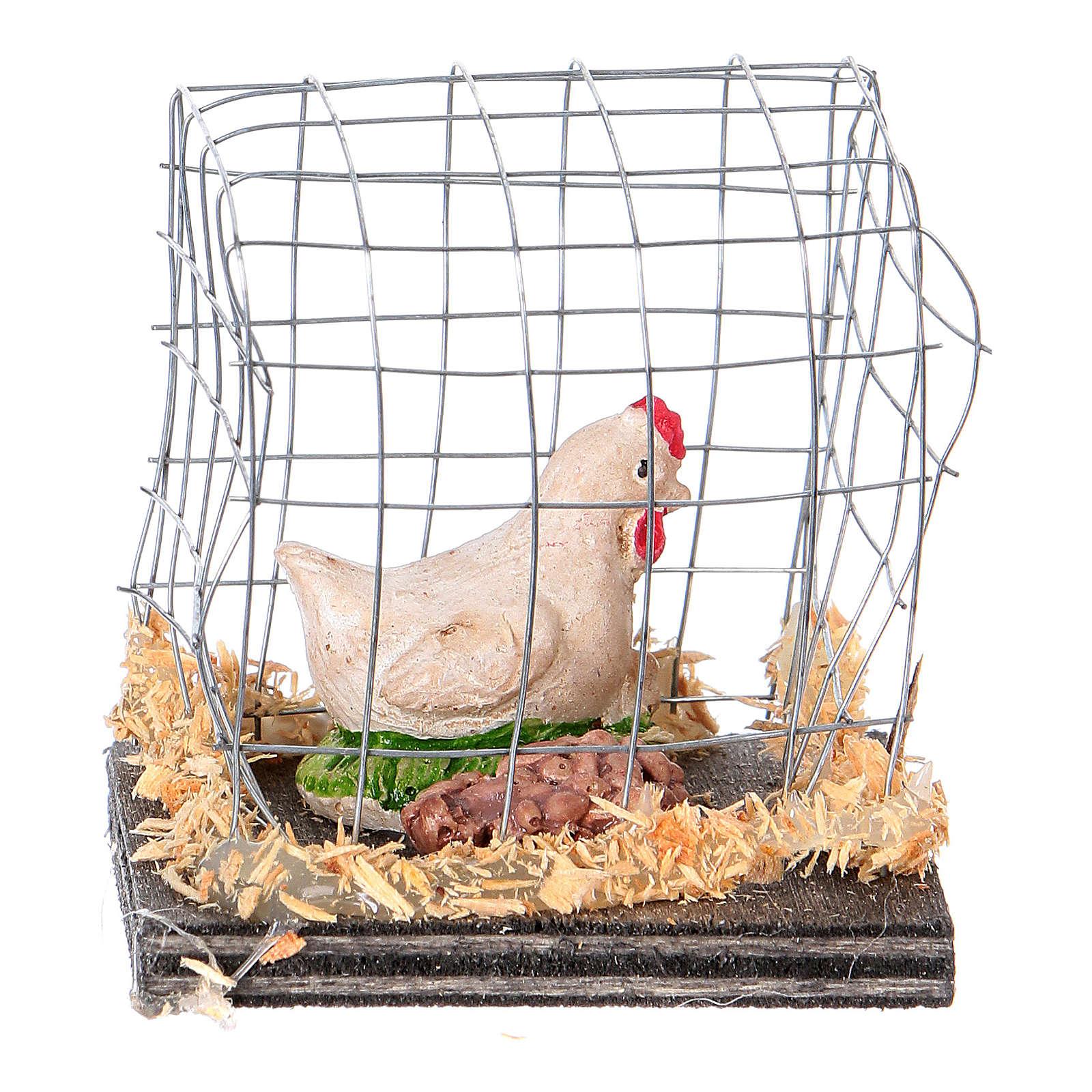 Gallina bianca in gabbia presepe 10 cm 3