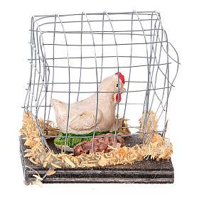 Gallina bianca in gabbia presepe 10 cm s1