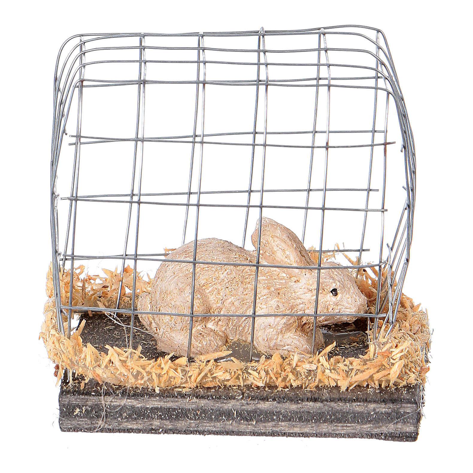 Miniature lapin en cage pour crèche noël 3