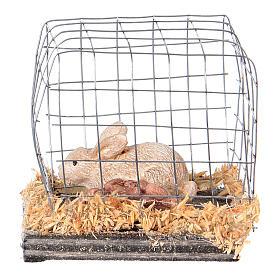 Miniature lapin en cage pour crèche noël s1
