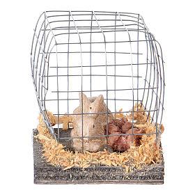 Miniature lapin en cage pour crèche noël s2