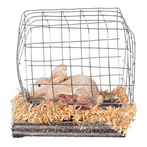 Miniature lapin en cage pour crèche noël 1
