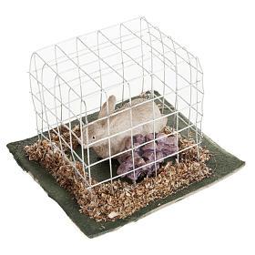 Coniglio in gabbia presepe 10 cm s1