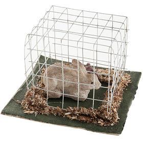 Coniglio in gabbia presepe 10 cm s2