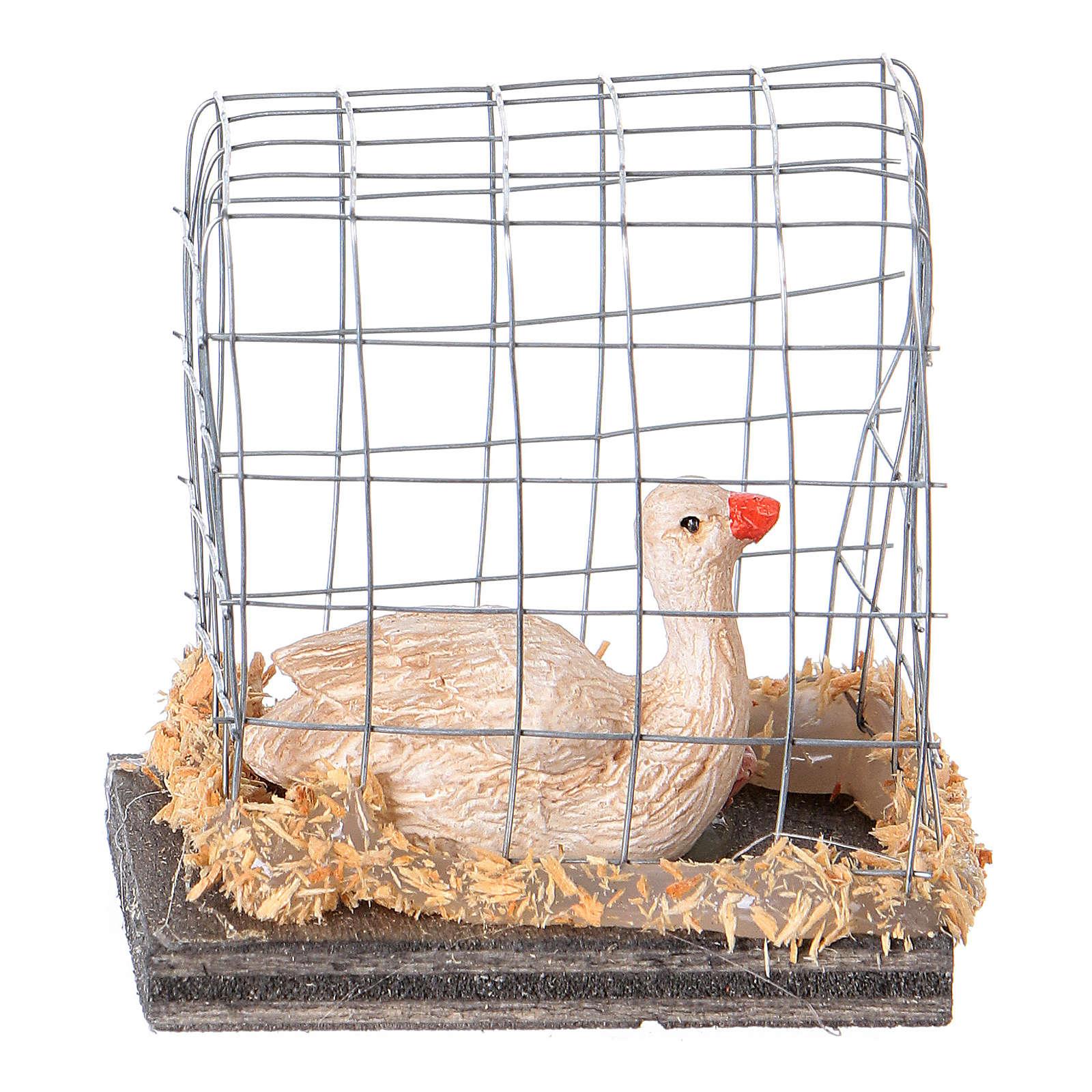 Miniature oies en cage crèche noël 3