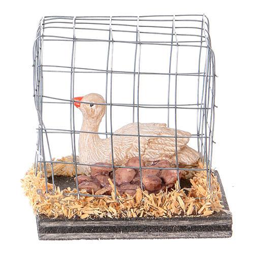 Miniature oies en cage crèche noël 1