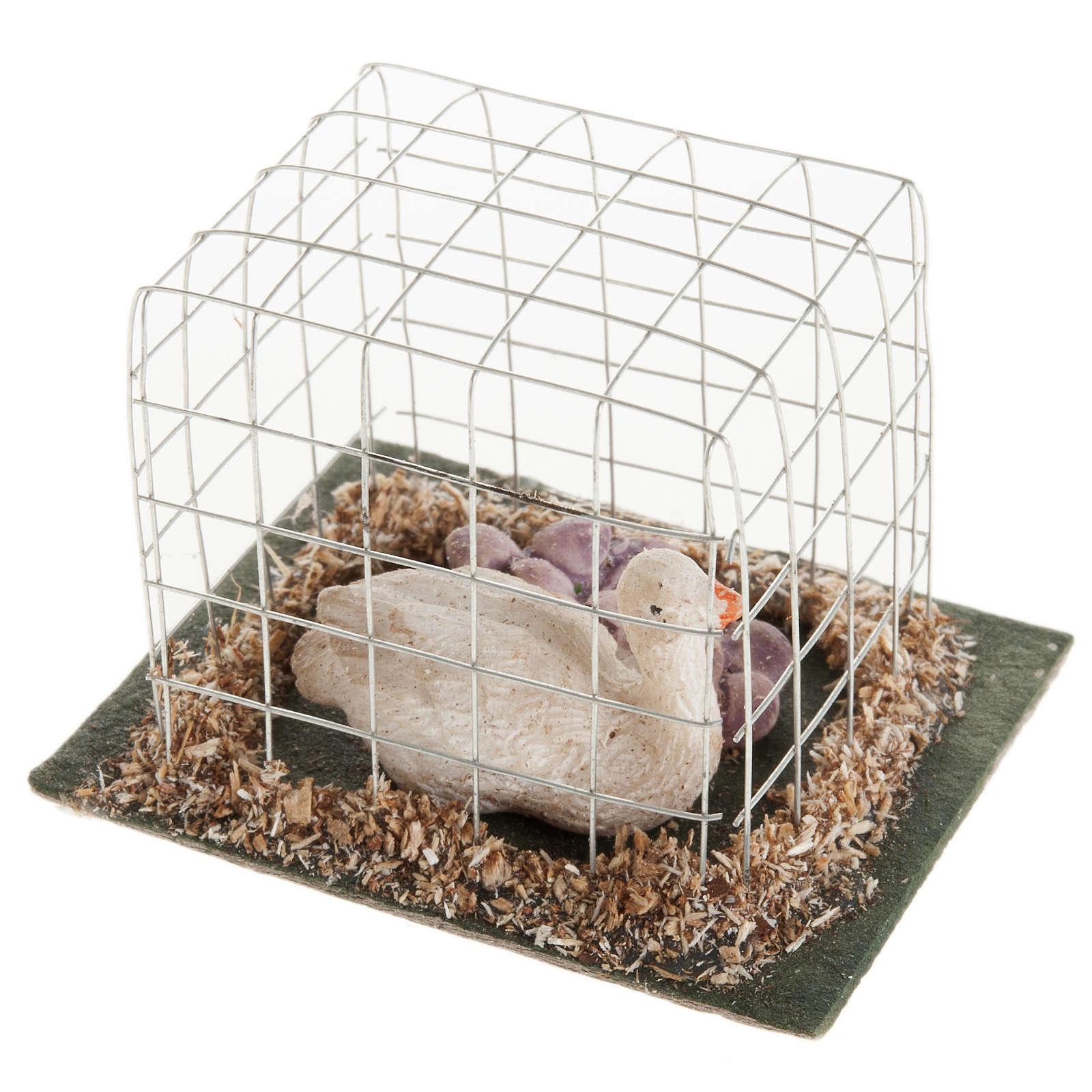 Oca in gabbia presepe 10 cm 3