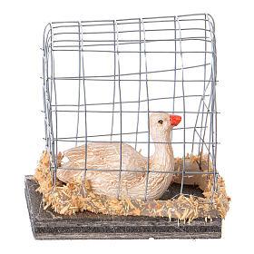 Oca in gabbia presepe 10 cm s3