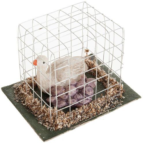 Oca in gabbia presepe 10 cm 1