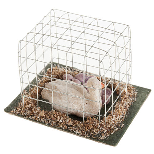 Oca in gabbia presepe 10 cm 2