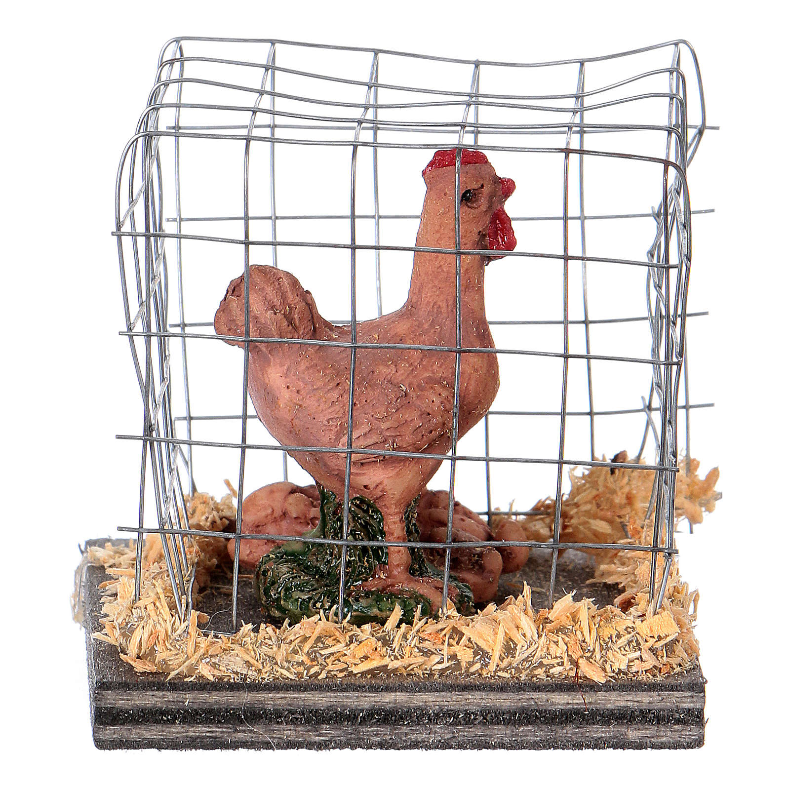 Nativity figurines, brown hen in cage 3
