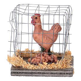 Animals for Nativity Scene: Nativity figurines, brown hen in cage