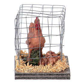 Nativity figurines, brown hen in cage s2