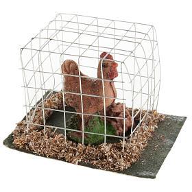 Gallina marrone in gabbia presepe 10 cm s2