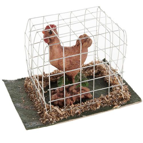 Gallina marrone in gabbia presepe 10 cm 1
