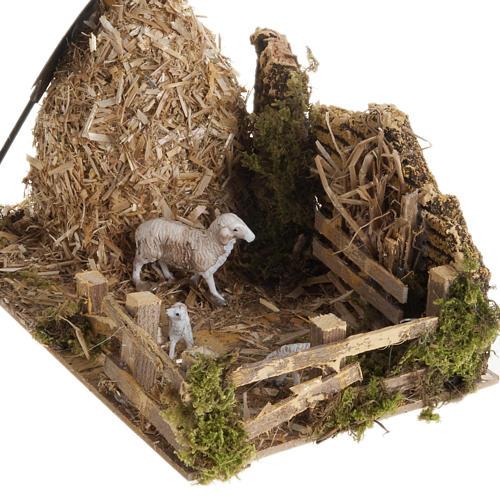 Meule avec bergerie, milieu crèche noël 3