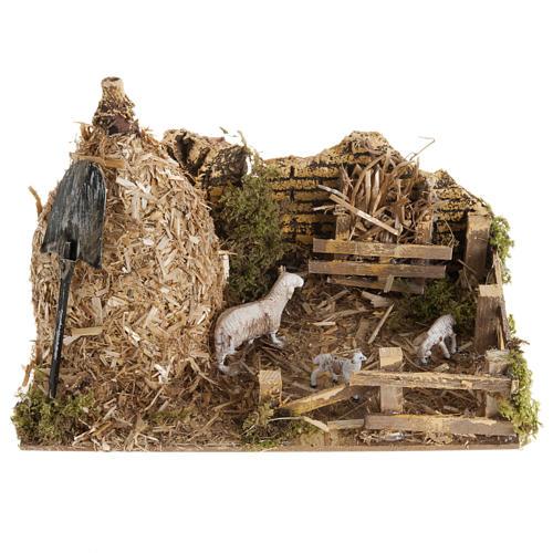 Covone con ovile: ambientazione presepe 12 cm 1