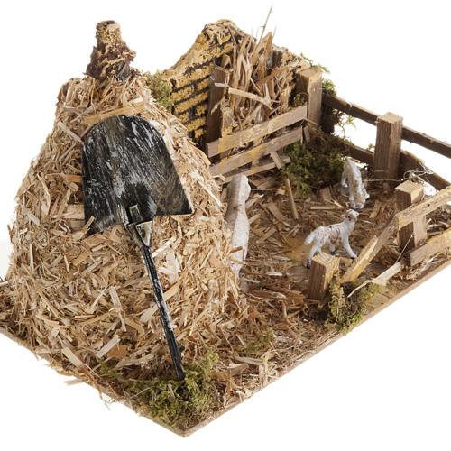 Covone con ovile: ambientazione presepe 12 cm 2