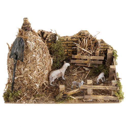 Nativity scene, sheepfold and sheaf of straw 1
