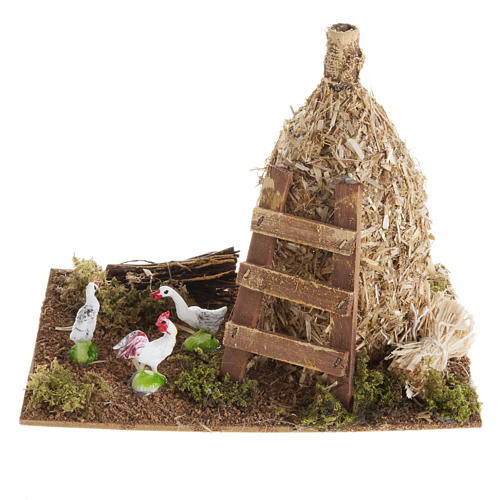 Nativity scene: sheaf of straw with poultry 1