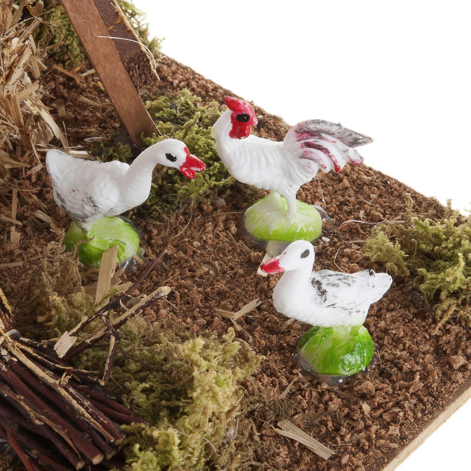 Meule avec poulets, milieu crèche noël 3