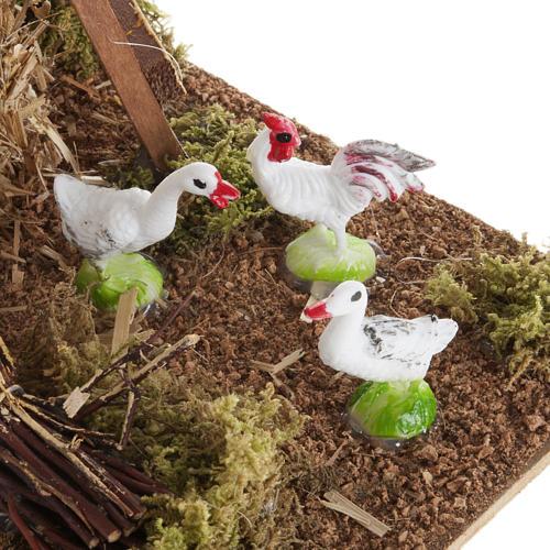 Molho de palha com aves de capoeira cenário para presépio com figuras de altura média 12 cm 3