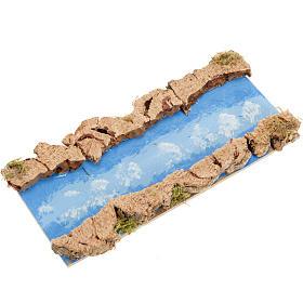 Ponts, ruisseaux, palissades pour crèche: Accessoire crèche, fleuve droit 16x7 cm