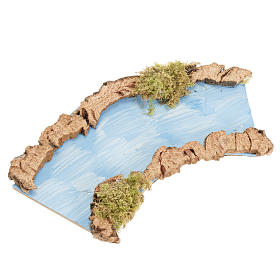 Pontes, Rios, Paliçadas : Troço de rio curvo 16x7 cm