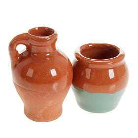 Home accessories miniatures: Small anphoras in terracotta 2 pc diam 2,5 cm