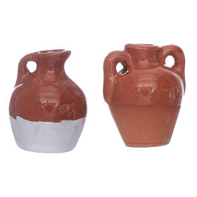 Anfore terracotta smaltate 2pz diam 2,5 cm s4