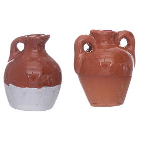 Anfore terracotta smaltate 2pz diam 2,5 cm s3